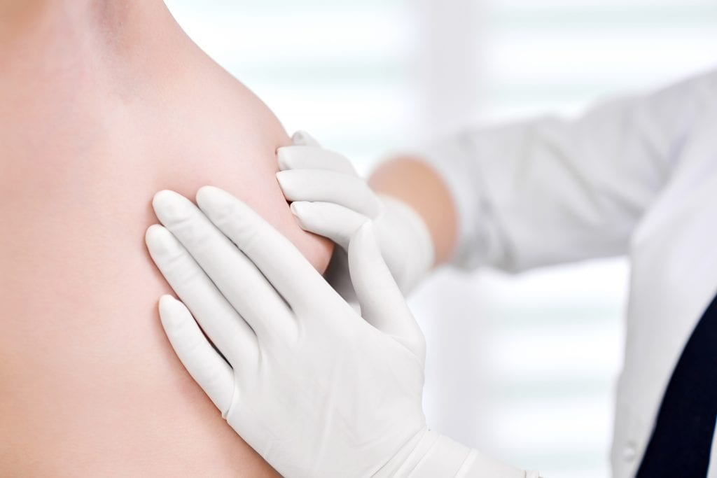 Young Woman Getting Breast Examination At The Hospital